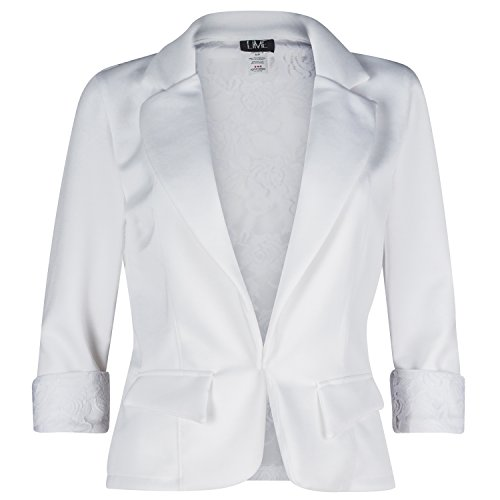 Women's 3/4 Sleeve Blazer with Sexy Lace back and Cuffs. Great Dressy Jacket (x-large, White) (Party City Canada Careers)