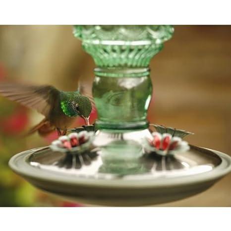 Green Glass 8108-2 Antique Glass Hummingbird Feeder