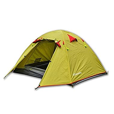 Weanas® Waterproof Double Layer 2, 3, 4 Person 3 Season Aluminum Rod Double Skylight Outdoor Camping Tent (Green, 3 Person)