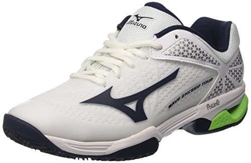 Mizuno Herren Wave Exceed Tour Cc Tennisschuhe, Bianco Multicolore (White/Dressblues/Greengecko)