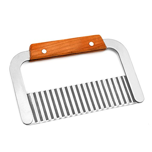 (Stainless Steel Crinkle Cut Knife with Wooden Handle For Potato and Vegetable Cutter Carrot)