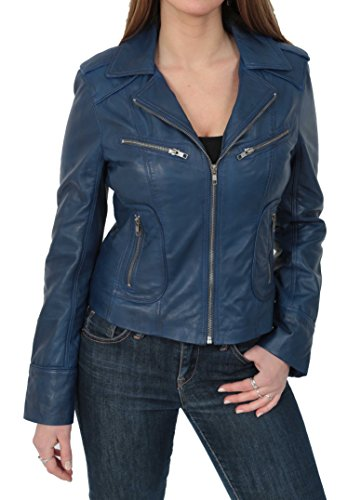 Biker Fitted Blue Real Leather Jacket Womens Navy Kim Casual Style Lambskin q6fHBO