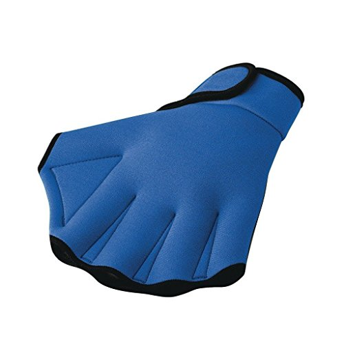 (Swim Gloves Aquatic Fitness Water Resistance Training Aqua Fit Webbed Gloves Blue (Medium))