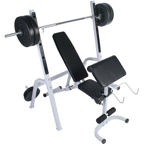 Physionics® - Banco de musculación con Soporte para Pesas: Amazon.es: Deportes y aire libre
