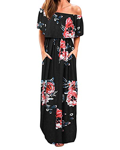 Kidsform Womens Floral Off The Shoulder Maxi Dress Ruffle Party Side Split Beach Dresses with Pockets B-Black Floral L ()