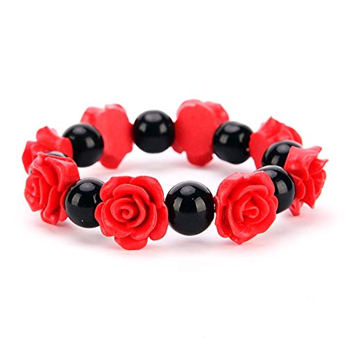 MMYU Bracelet Red String Lucky Cinnabar Flower Bracelet & Bangles Rose Red Charms with Rope Chain Handmade Fashion Jewelry