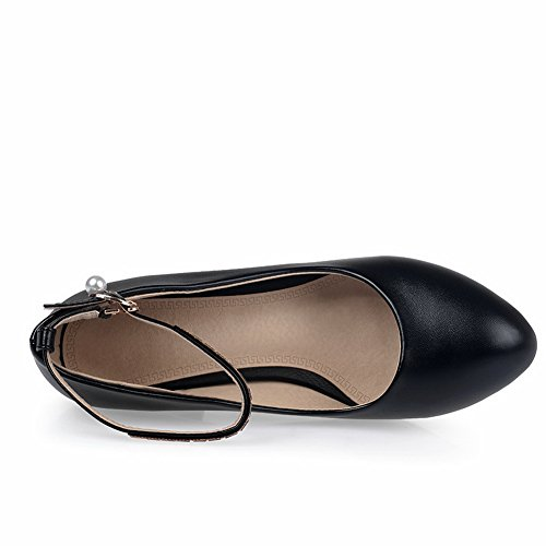 BalaMasa da donna in vetro Diamond kitten-heels fibbia a punta rotonda gomma pumps-shoes, Nero (Black), 38
