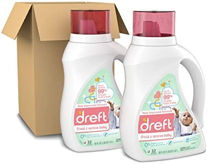 41qT5qjF3yL. AC - Dreft Stage 2: Active Hypoallergenic Liquid Baby Laundry Detergent For Baby, Newborn, Or Infant, 50 Ounces(32 Loads), 2 Count (Packaging May Vary)