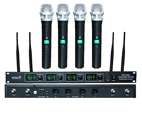 STARAUDIO Pro 4 Channel Wireless UHF Microphone System With Diversity 4CH Handheld Mics For DJ Stage Church,Karaoke KTV Church,Wedding Party,Club School Play,Speech Outdoor Indoor PA DJ Mic SMU4000A