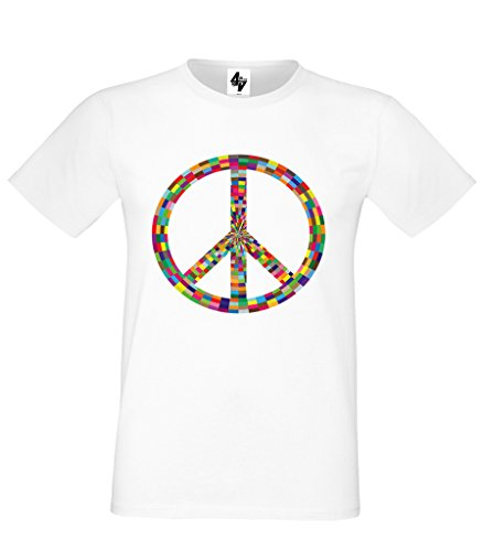 o Negro Tama Blue xxl Peace Fit Regular S redondo Cotton Hombre Heavy Cuello 4sold corto Gris Blanco Camiseta wXq6txOf