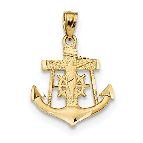 14k Yellow Gold Satin and D/C Small Anchor with Crucifix Charm Pendant