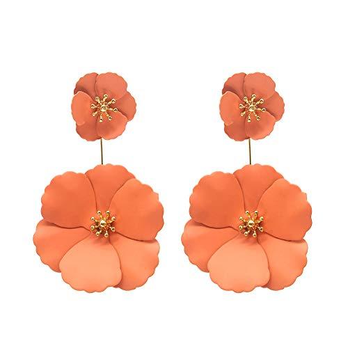 (Dual Flower Petal Tiered Earrings Daisy Floral Drop Dangle Earrings Metal matte for Women Girls Teen Pierced)