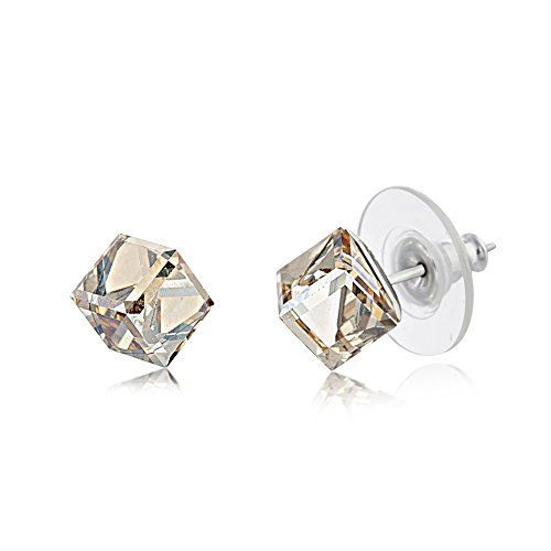 Golden Swarovski Ring (LESA MICHELE Champagne Cushion Stud Gift Earrings for Women in Stainless Steel made with Swarovski Crystals (Golden Shadow))
