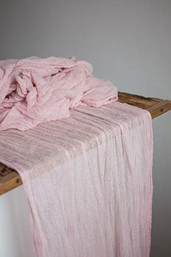 Blush cheesecloth gauze table runner 27