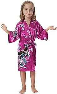 Aibrou Girls' Peacock Satin Kimono Robe Bathrobe Nightgown for Party Wed