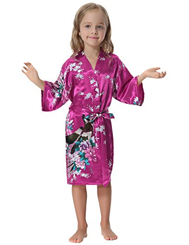 9616c340e07 Aibrou Girls  Peacock Satin Kimono Robe Bathrobe Nightgown For Party  Wedding