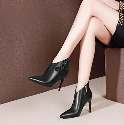 inverno amp; Evening A Autunno Stivali Tacco Formali Stivaletti Da Laterale Party Spillo Office Con Cerniera Pelle Donna Scarpe In Hy Nero Carriera Moda qUW4p1Sp