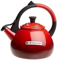 Le Creuset Enameled Steel 1.6 Quart Oolong Tea Kettle, Cerise (Cherry Red)
