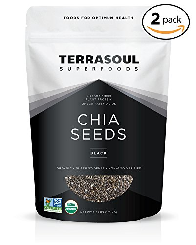 Terrasoul Superfoods Organic Black Chia Seeds, 5 Pounds