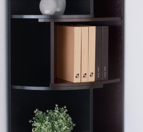 Furniture of America Shifter Decorative Modern Expandable Black-Cappucino Tall Corner 5 Shelf Bookcase or Media Storage Display Stand by Furniture of America