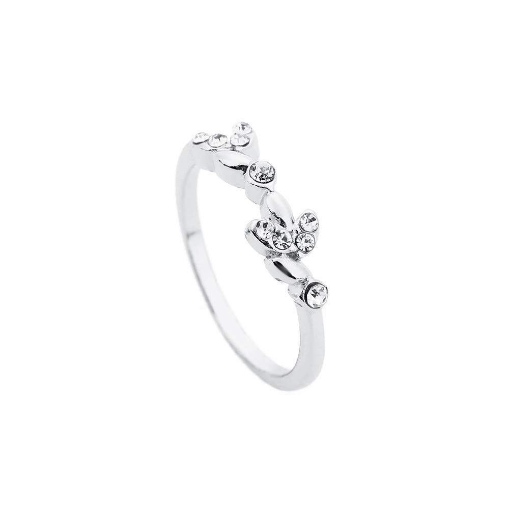 WoCoo Crystal Diamond-Set Glitz Ring,Trendy Forefinger Ring for Gift(Silver,Size 6)
