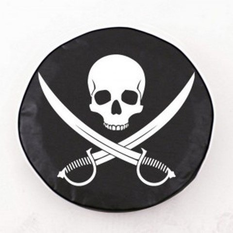 Holland Bar Stool Jolly Roger (Clean) Tire Cover In Black - 27 Inch X 8 Inch