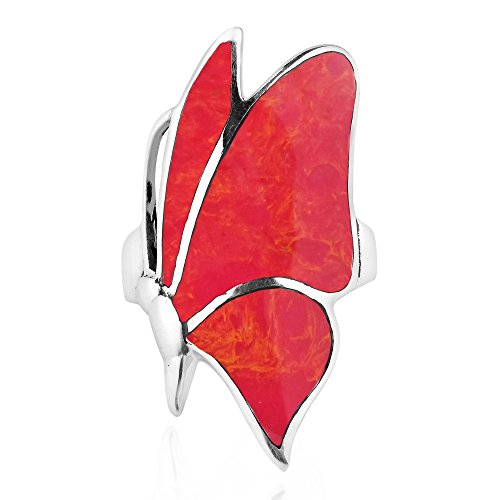 AeraVida Flying Monarch Butterfly Reconstructed Red Coral Inlay Stone Sterling Silver Ring (Reconstructed Stones Ring)