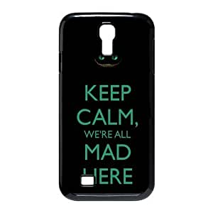 Alice in Wonderland KEEP CALM We're all mad here Cheshire Cat Always Grin Especial Durable Hard Plastic Case Cover Fits Samsung Galaxy S4 I9500 Design Yedda DIY