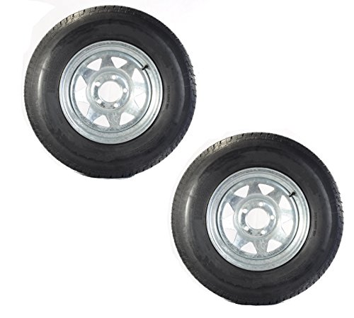 eCustomRim Two Trailer Tires On Rims ST175/80D13 1758013 B78-13 5 Lug Galvanized Spoke