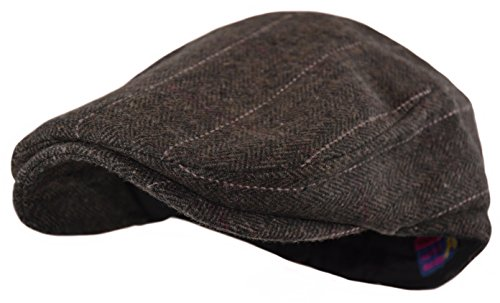 Wonderful Fashion Men's Classic Herringbone Tweed Wool Blend Newsboy Ivy Hat (Large/X-Large, Brown (Plaid Wool Tweed)