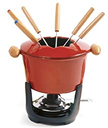 Norpro 10 Piece Cast Iron Fondue Set, Red