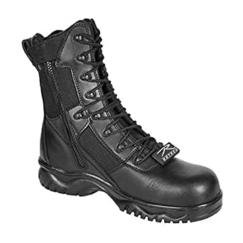 """Security Guard Officer Side Zipper Black Leather Patrol Duty 8"""" Tactical Boots"""