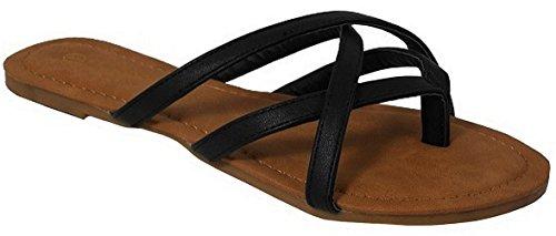 Cambridge Select Womens Crisscross Strappy Thong Slip-On Flat Slide Sandal Black nKuLR