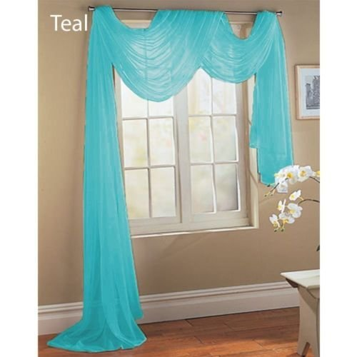 Gorgeous Home 1 PC SOLID TURQUOISE BLUE SCARF VALANCE SOFT SHEER VOILE WINDOW PANEL CURTAIN 216″ LONG TOPPER SWAG