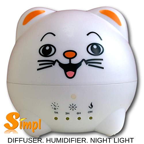 Cute Kitty Aromatherapy Diffuser-Cool Mist-Whisper Quiet-Ultrasonic Humidifier-Adjustable Mist Mode,Waterless Auto Off Function-7 Color LED Lights-Home-Office-Bedroom-Gift-300ml BPA Free