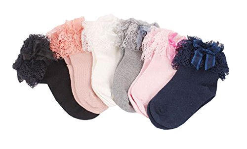 Honanda Girl's Cute Lace Ruffle Frilly Princess Style Bowknot Cotton Ankle Socks 5 Pack Spring Dress Socks ()