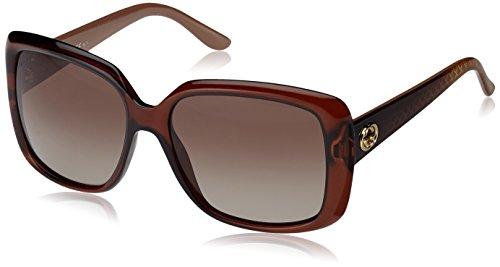 Gucci GG3574/S Sunglasses-0W7LBrown Clear (LA Gray/Green Grad Polar Lens)-56mm