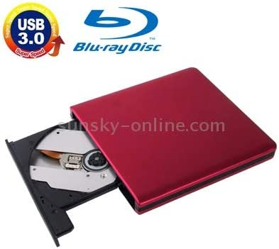 USB 3.0 Aluminum Alloy Portable DVD//CD Rewritable Blu-ray Drive for 12.7mm SATA ODD//HDD Color : Red Plug and Play