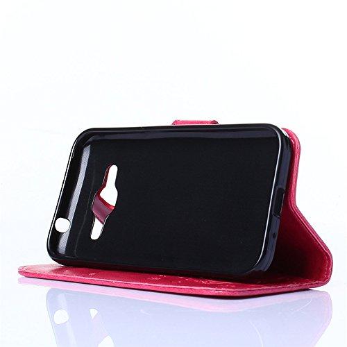COOLKE Retro Mariposas Patrón PU Leather Wallet With Card Pouch Stand de protección Funda Carcasa Cuero Tapa Case Cover para Samsung Galaxy Core Prime - Negro Rose