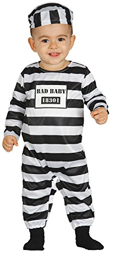Baby Girls Boys Black & White Striped Prisoner Convict Jail Cute Halloween Fancy Dress Costume Outfit 6-18 mth (6-12 Months) ()