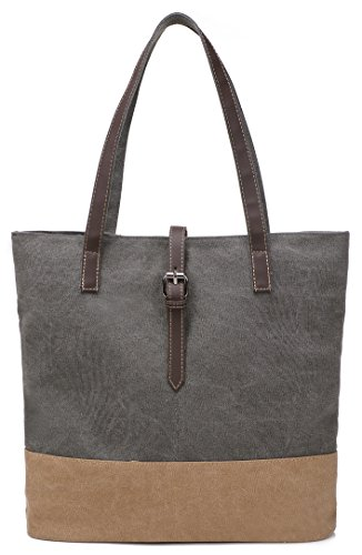 ArcEnCiel Women's Canvas Shoulder Hand Bag Tote Bag (Gray) ()