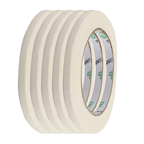 uxcell 5pcs Adhesive Paper Painting Writing Decoration Tape White 0.8cm x 50M Length by uxcell