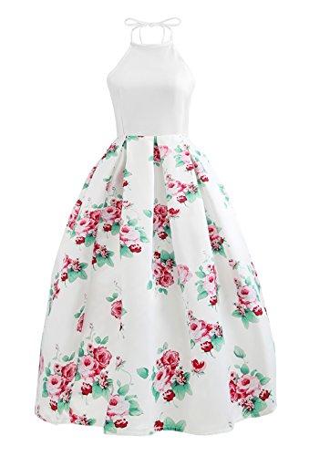 Huixin Cocktailkleid Damen Elegant Festlich Abendkleider Lang Blumen  Drucken Ärmellos Schulterfrei 1950Er Rockabilly Swing Neckholder Rockabilly 0fe772c4d0