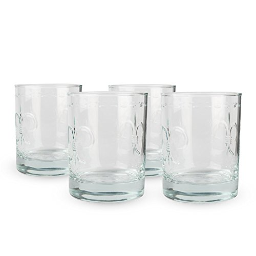 (Fleur De Lis Engraved DOF Rocks Glasses - 14 oz - Set of)