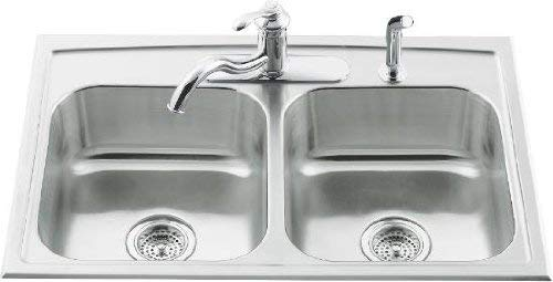 KOHLER K-3346-3-NA Toccata Double Equal Self-Rimming Kitchen Sink, Stainless Steel - smallkitchenideas.us