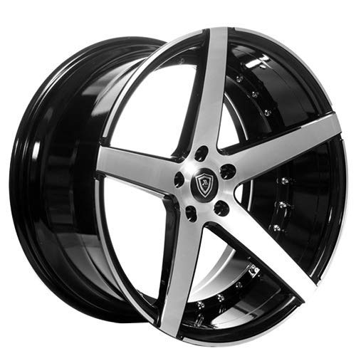 Marquee MQ 3226 - 20 Inch Staggered Rims - Set of 4 Black with Brush Face Wheels - Sports Racing Cars - Fits Challenger, Charger, Mustang, Camaro, Cadillac and More (20x9 / 20x10.5) - Car Rim Wheel (20 Inch Staggered Rims)