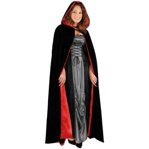 Charades Unisex-Adult's Fully Lined Full Length Hooded Velvet Cape, Black/red, One -