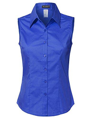 LE3NO Womens Lightweight Cotton Sleeveless Button Down Shirt - Sleeveless Collar Cotton