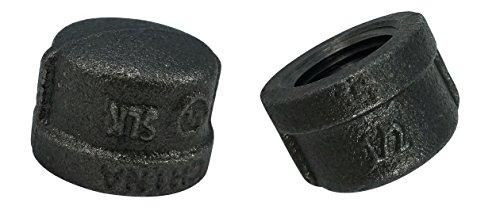 Cap Steel Pipe Caps - LDR Pipe Décor Industrial Steel Grey 1/2-Inch Pipe Cap Fittings (2-Pack)