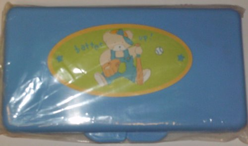 Blue Baseball Bear Baby Wipes Case